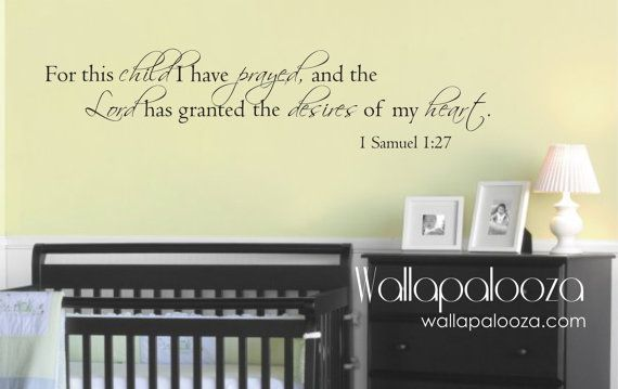 For this Child We Prayed - Nursery Wall Decal - 1 Samuel 1:27 - Prayer wall decal on Etsy, $38.31