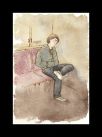 """The Lake Isle of Innisfree, spot illustration; December, 2008; ink, watercolor on watercolor paper and digital adjustment reproduced in print; 4.5""""w x 6.5""""h.  The young man rides a train, dreaming of his lake isle Innisfree escape.  Illustration based on the poem by William Butler Yeats."""