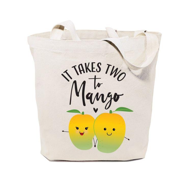 Cotton Canvas It Takes Two to Mango Tote Bag