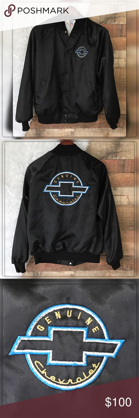 """Vintage Men's L Genuine Chevrolet Bomber Jacket Vintage West Ark Made In USA Men's L Genuine Chevrolet Bomber Satin Jacket 1980's Sheel 100% Nylon Lining 85% Acetate 15% Nylon. Pit to pit measures 26"""" Length 25.5"""" Collar to Cuff 33"""" Only flaw is run pull on Top front West Ark Jackets & Coats Bomber & Varsity"""