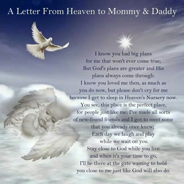 A Letter From Heaven to Mommy & Daddy #memorial #quote                                                                                                                                                      More