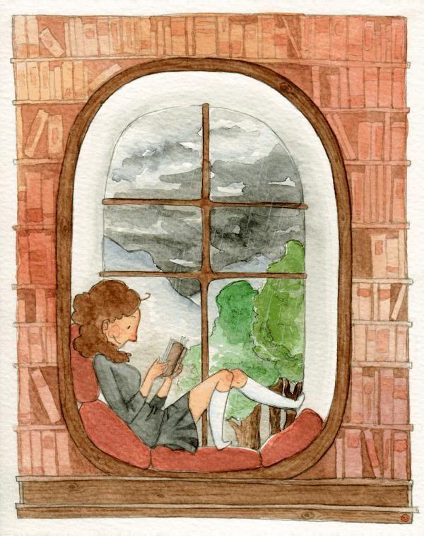 A rainy afternoon and read / Una tarde de lluvia y lectura (ilustración de Kori)