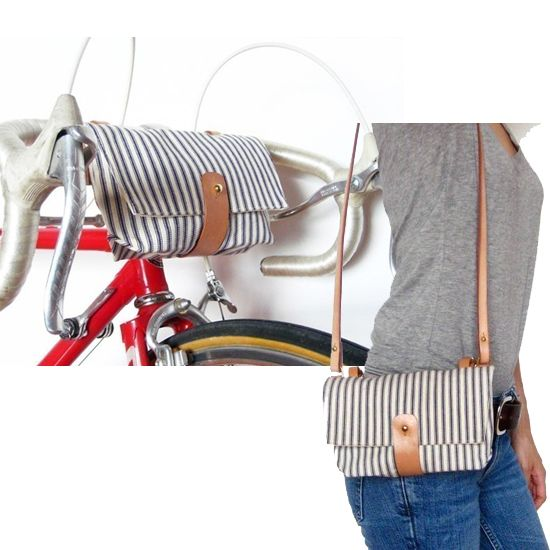 Handlebar Bag: This cute handmade Handlebar Bag ($95) from Etsy is the perfect solution when all you need with you are a few small items. Adjustable leather straps wrap around handlebars and close with brass buckles. The bag is easily removed and can be used as a clutch or as a purse with the attachable leather shoulder strap.