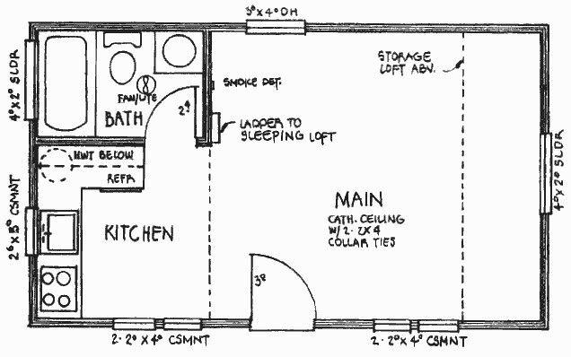 16x24 Cabin Plan Loft Floor Plans Cabin Floor Plans