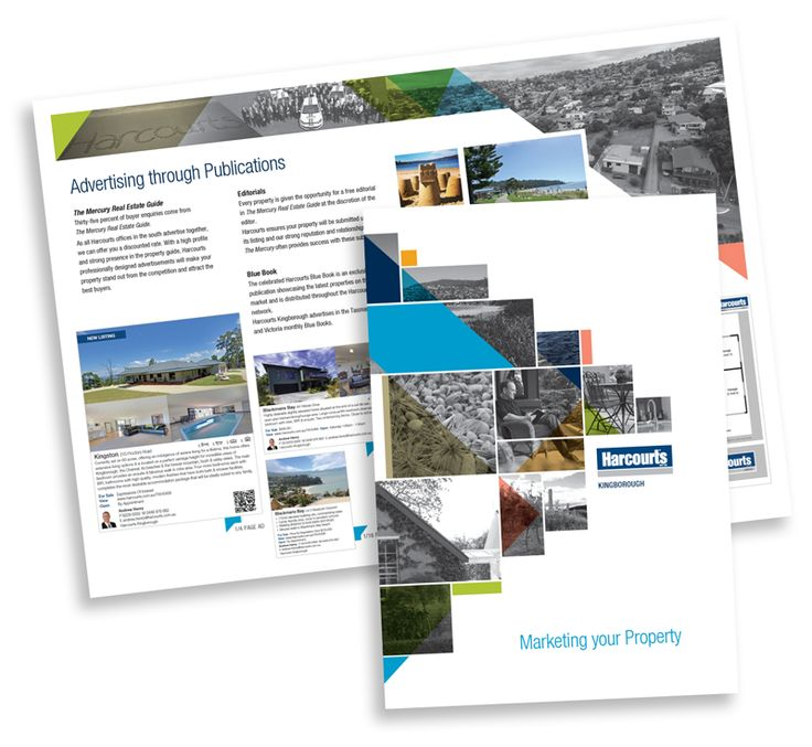 White space, hits of bright colour and a clean layout make this real estate brochure an easy read for prospective clients.