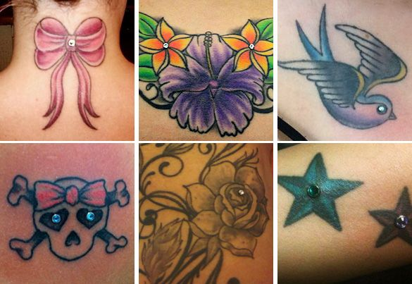 Dermal Piercing Jewelry | tattoo art accented by microdermals. I like the idea for a future tattoo.
