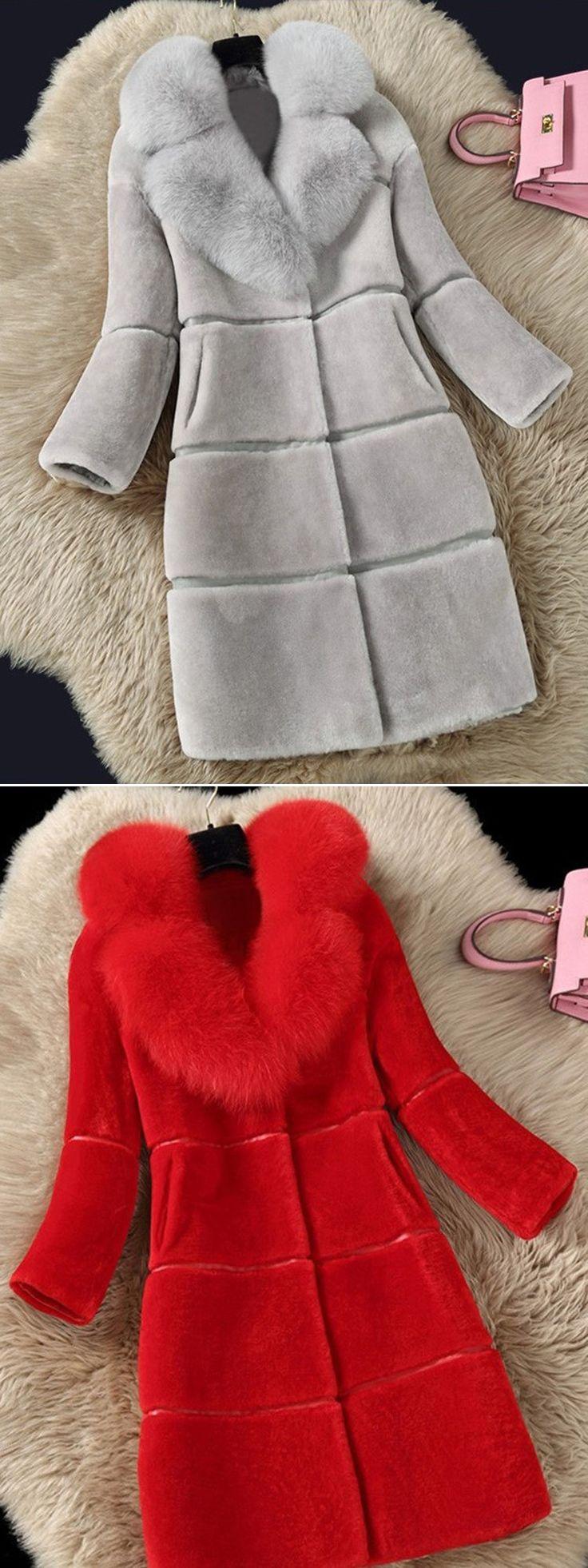 Warm Winter Solid Color Long Sleeve Faux Fur Coat