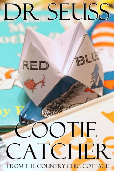 Dr Seuss Activity -- FREE Printable Cootie Catcher. This could be a fun activity for students to make with facts about water or history. The students would pick out the most obscure fact that they can find and it would a great opportunity for everyone to learn.
