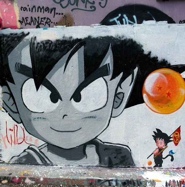 Dragonball dbz graffiti graff streetart mural art for Dragon ball z mural