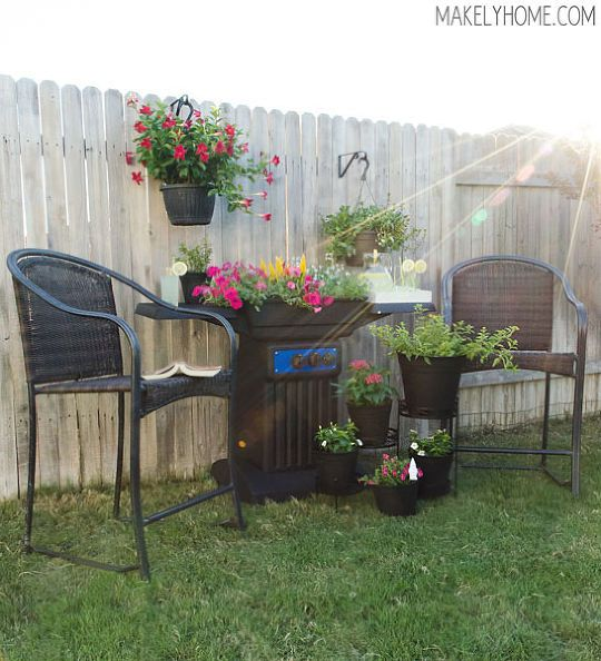 upcycle old broken bbq grill turned into awesome planter, flowers, gardening, outdoor living, repurposing upcycling, My new outdoor space featuring the new DIY BBQ grill planter