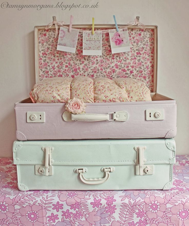 The Villa on Mount Pleasant. Shabby Chic vintage suitcase and picture display.