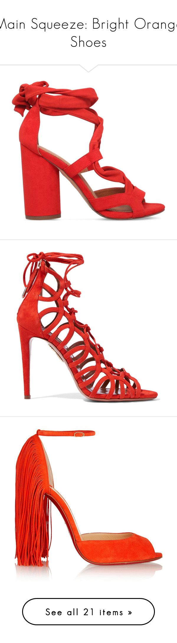 """""""Main Squeeze: Bright Orange Shoes"""" by polyvore-editorial ❤ liked on Polyvore featuring brightorangeshoes, shoes, sandals, heels, orange, open toe high heel sandals, fleece-lined shoes, block heel sandals, kg kurt geiger and high heel shoes"""