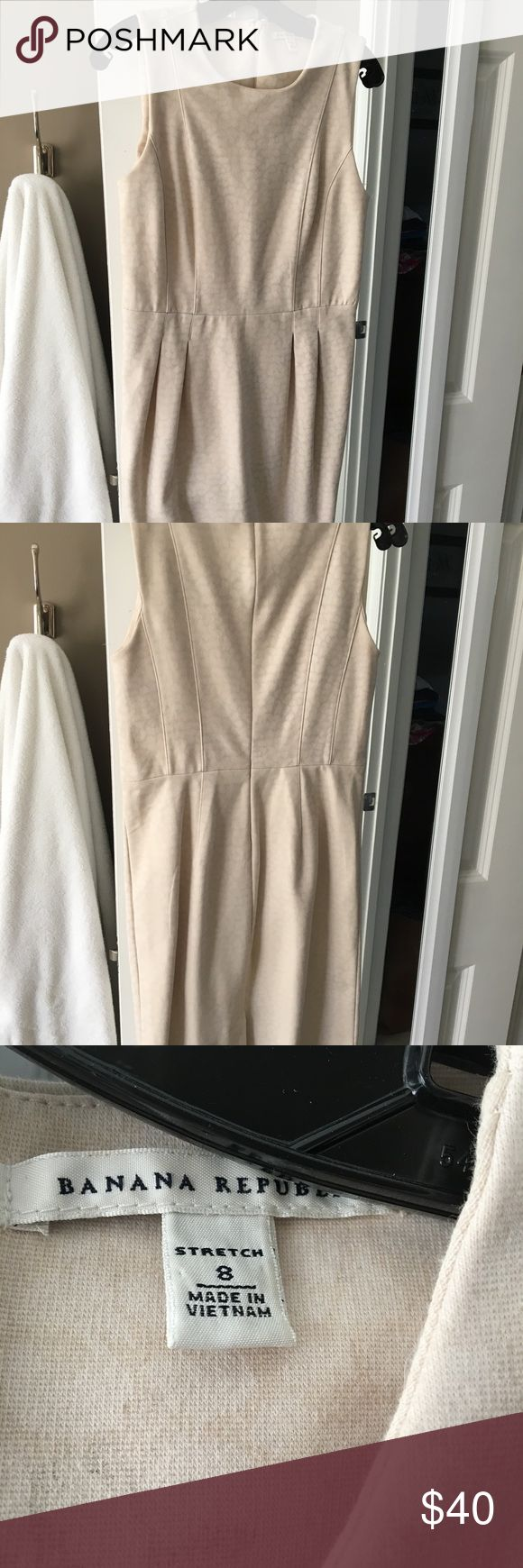 Banana Republic Neutral Animal Print Sheath Dress Take a look at this!!  Beautiful, professional, pre-loved cotton blend dress.  Perfect for work or any special occasion.  It features a zip back and darting on the skirt- very flattering! Banana Republic Dresses Midi