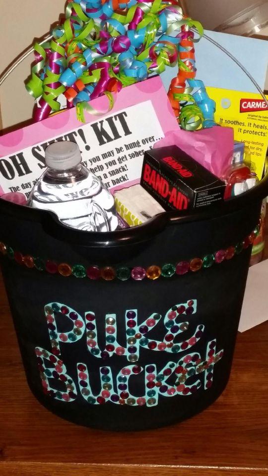 21st birthday gift oh shit kit puke bucket hangover recovery