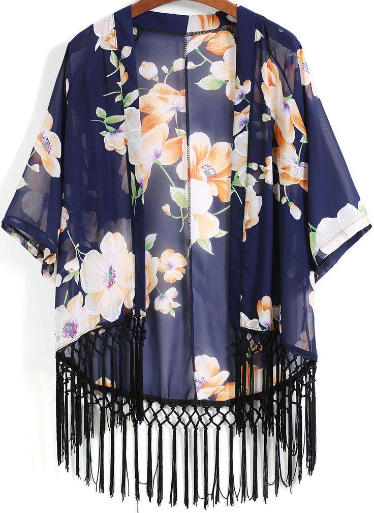 Blue Floral Loose Tassel Kimono 14.33