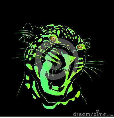 Neon green color vector line art drawing of a leopard with a black background.