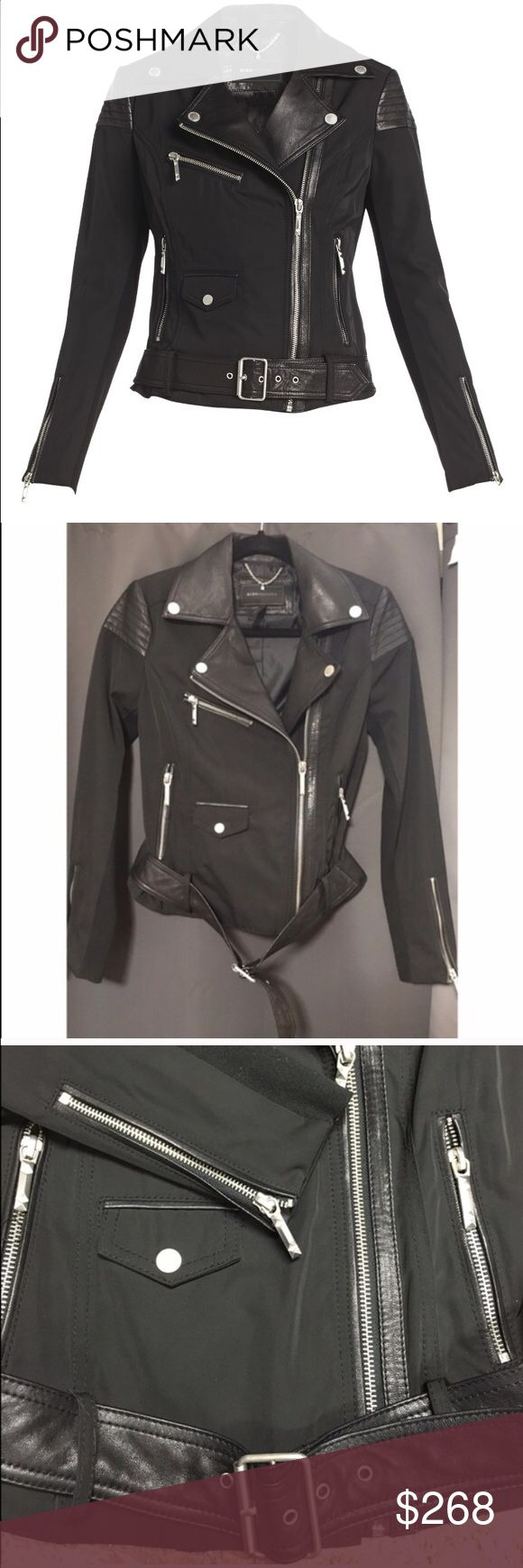BCBGMAXAZRIA Joey Twill Moto Jacket Used two times only. Great condition. Pretty much new BCBGMaxAzria Jackets & Coats Utility Jackets