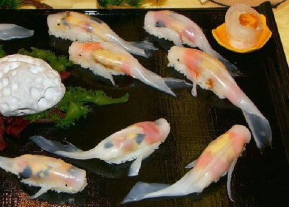 Koi shaped nigiri sushi - a work of art you can eat! Not sure I'd be able to though, it's too pretty to eat!
