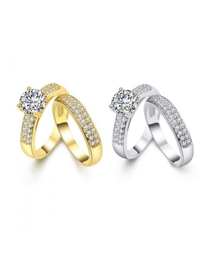 Ouruora 24K Gold Plated Cubic Zirconia Bridal Ring Set