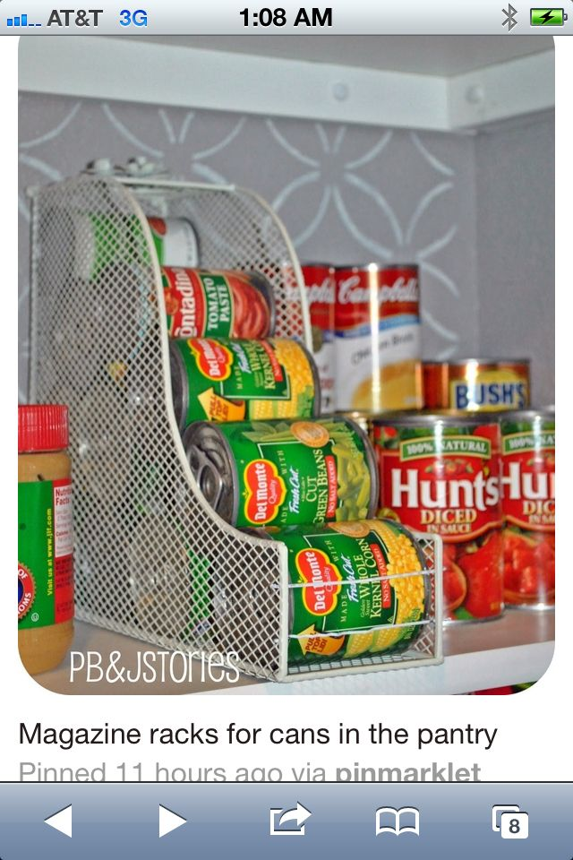 Love this!!! Just make sure the size is rt. Add some strong wire/pens etc to hold them in. magazine holder for cans. Organize DIY