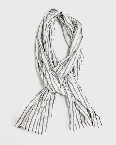 Kiji Gray Stripe Scarf by Kiriko