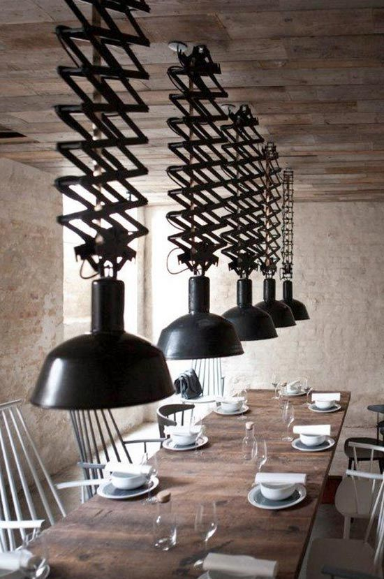 Great light fixtures! Adds an urban edge to this rustic space