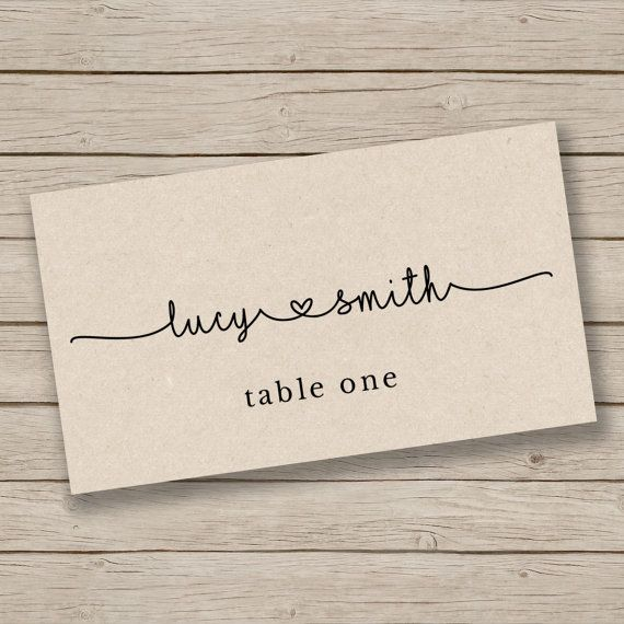 Printable Escort Card Template  Place Card by HopeStreetPrintables