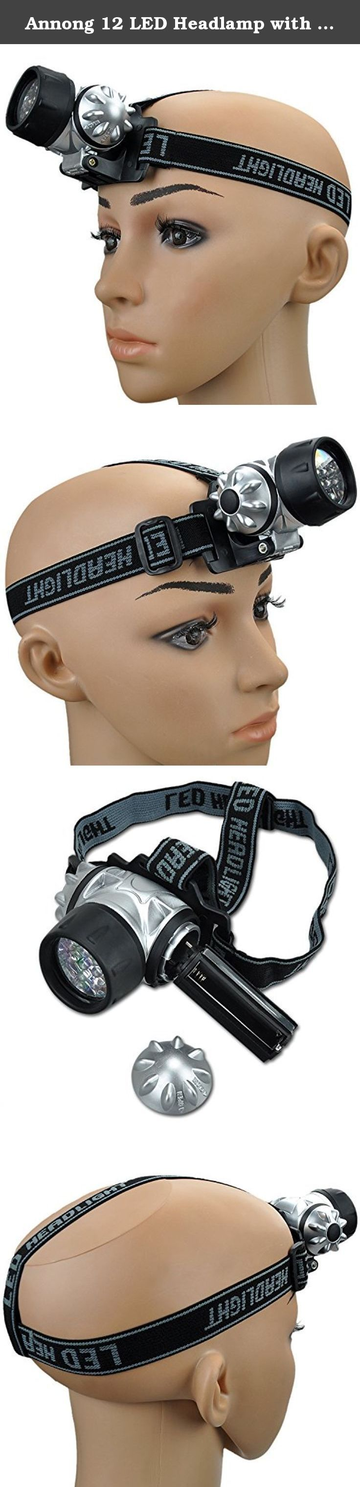 Annong 12 LED Headlamp with Adjustable Head Lamp Straps Flash Light Camping HeadLight. Item Specifications: Water Resistant Easily attaches to Hat, Helmet, or Head Adjustable pivoting head 12 LED light & 12 LED flashing mode IDeal for camping, hiking, automotive tasks, hunting, & flashlight tag.