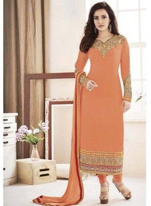 #Brown #Straight #Churidar #Suit Features on georgette fabric zari embroidered top, santoon bottom and chiffon dupatta with lace.
