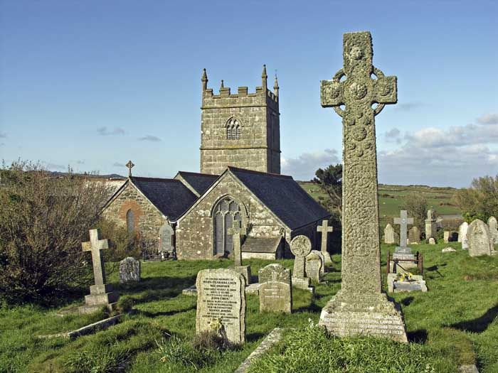 ST SENARA'S CHURCH | Zennor, Cornwall: 'On the south side of the church tower is a bronze dial, bearing the figure of a mermaid, and an inscription dated 1737.' ✫ღ⊰n