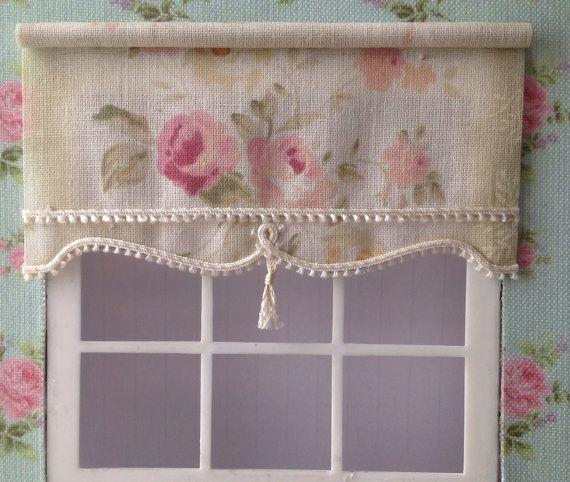 Scale Blind For Dollshouse LARGE ROSE With Tassel Pull For Doll House
