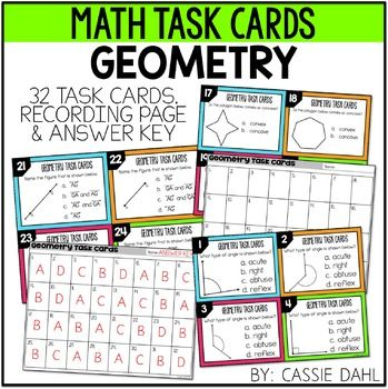 Geometry: This product has 32 task cards that are perfect for helping your students to practice their geometry skills. The task cards focus on:polygonslines, line segments and raysangles (acute, right, obtuse and reflex) convex and concavesimilar and congruent polygons. A recording sheet and answer key are also included!