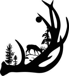wildlife clip art silhouettes   Mountain Scene Deer Family Metal ...