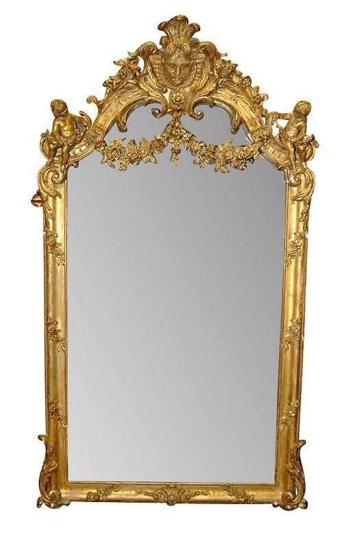 Late 19th Century French Giltwood mirror.        I Love this!Beautiful Carvings, Giltwood Cherub, Late 19Th, 19Th Century, Century French, Carvings Gesso, Cherub Mirrors, French Giltwood, Giltwood Mirrors