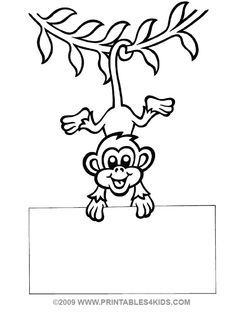 Monkey hanging coloring : Printables for Kids – free word search puzzles, coloring pages, and other activities