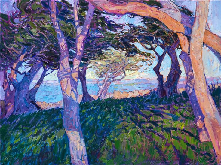 Monterey cypress landscape oil painting in expressive, modern color by Erin Hanson.