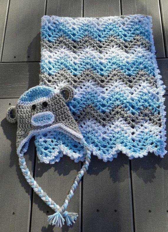 baby boy, chevron, ripple, baby, crochet blanket, afghan crochet, crocheted blanket, crocheted afghan,blue, grey &white