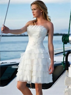 White Strapless Ruffle/Embroidery/Beads A-Line Satin/Organza Summer Short Wedding Dress    Would look great with cowgirl boot theme.