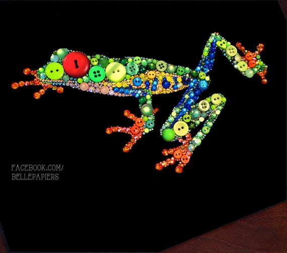 ButtonArtMuseum.com - Button Art Red Eyed Tree Frog Swarovski Flatback Rhinestones and Buttons 8x10 Frog Nursery Art Great Gift!