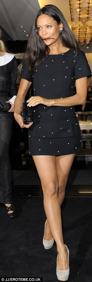 ♥Fantastic at 40! Thandie Newton looks stunning in glamorous LBD at the opening of Chanel's new flagship store in London