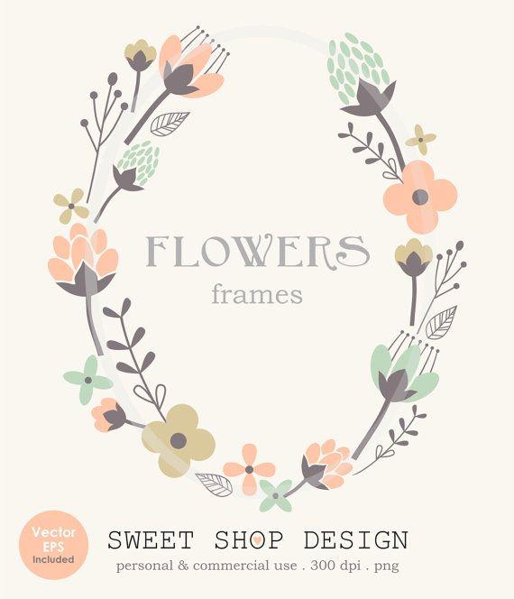 Flower Border Clip Art Frames Wedding Clip Art by SweetShopDesign, $4.95