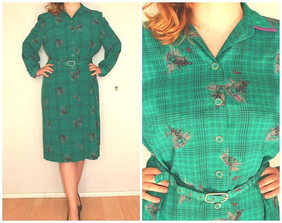 Dress 60' 70' green romantic retro universal L large