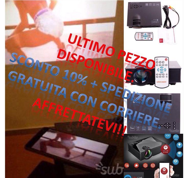 Mini proiettore Mo Uc46 Wi-Fi per dispositivi Android e apple. proietta senza fili semplicemente WIFI 2,4G compatibile con tutti i modelli android ( Samsung Huawei) vedi foto scattata personalmente Mini proiettore Unic Uc46 da 1200 Lumens risoluzione 800 x 480 PixelsHDMI in regalo, supporta fino alla risoluzione 1920 x 1080. dimensioni 20cm x 15 cm x 7