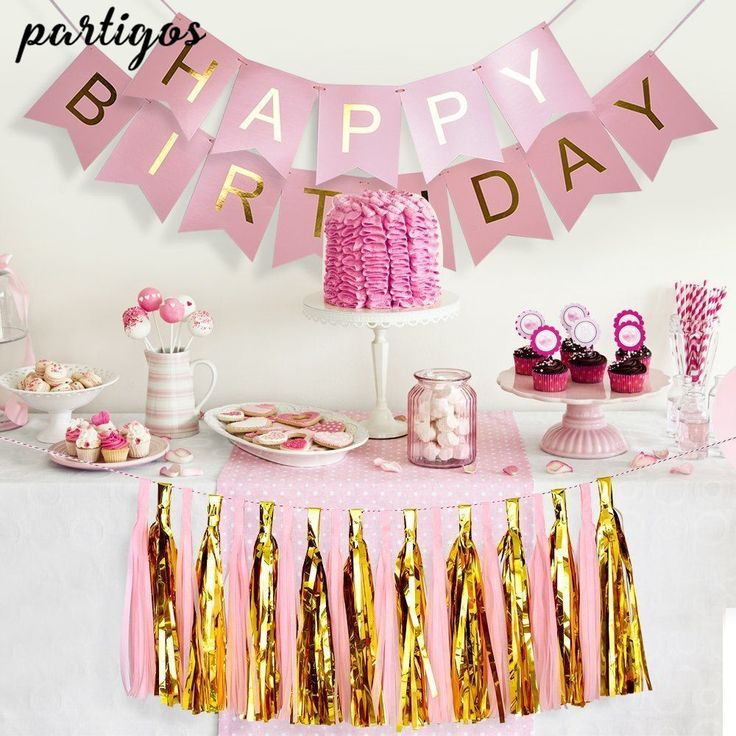 1set Happy Birthday Paper Banner+2 pack Tassel Garland Birthday Party Hanging Glitter Pastel Pink String Flag Baby Shower Decor -in Ballons & Accessories from Home & Garden on Aliexpress.com | Alibaba Group