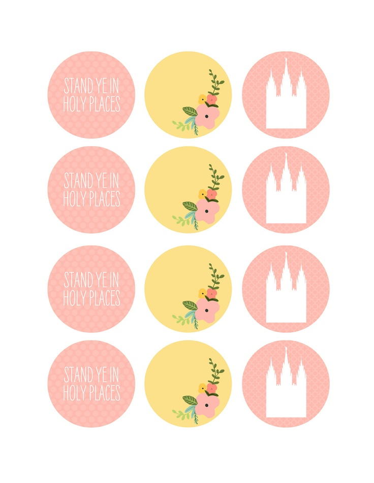 2 inch Cupcake / Food Toppers, Scrapbooking, Collage - Stand Ye In Holy Places (Young Women 2013 LDS Mutual Theme). $3.00, via Etsy.