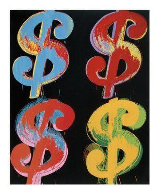Four Dollar Signs, c.1982 (blue, red, orange, yellow) - 4 symboles du dollar, 1982 (blue, rouge, ora by Andy Warhol, 82x100