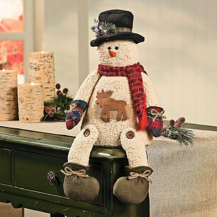 Plush Sitting Snowman with Moose - OrientalTrading.com