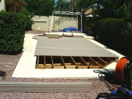 Deck Over Pool | Decking over pool | Pool steps, Empty