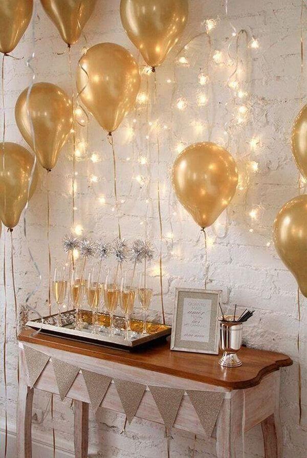 40 Metallic Gold Helium Quality Balloons Party Decorations Wedding