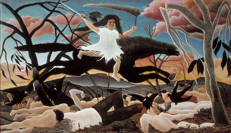 Henri Rousseau Savaş 1894 Elinde kılıç ve meşale olan savaş tanrıçası Bellona. İnsanlık doğayı asla yenemeyecek.   Gökyüzünde kırmızı bulutlar. Ağaçlar kömürleşmiş. Zemin cesetle kaplı. Kargalar insan etiyle besleniyorlar.  ♥♥♥ Henri Rousseau War in 1894 with sword in hand and torch war goddess Bellona. Human nature will never be defeated.  Red clouds in the sky. Trees charred. Ground covered corpse. Crows are fed on human flesh. & http://celinesymbiosis.tumblr.com/post/141257410159/henri-